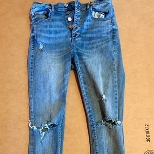 Garage skinny ultra high rise button up jeans 5